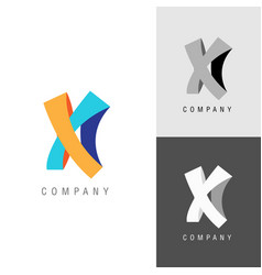 logo design element letter symbol x vector image