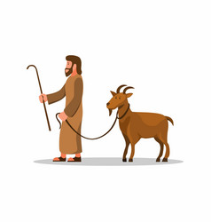 man walk with goat symbol for qurban islam vector image