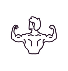 Man with muscles backwards line style icon vector