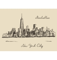 Manhattan New York city engraved vector