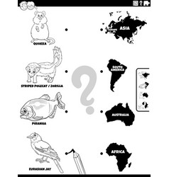 match animals and continents activity coloring vector image