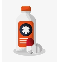 Medicine bottle of medical care design vector