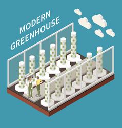 Modern greenhouse farming concept vector