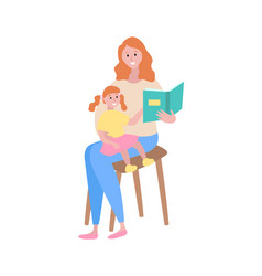 Mother reading fairy tales to child daughter and vector