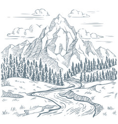 mountains river engraving outdoors travel vector image