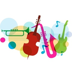 Music template with notes guitar and saxophone vector