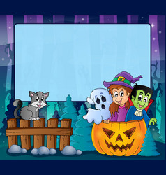 Mysterious forest halloween frame 5 vector