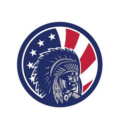 Native american indian chief usa flag icon vector