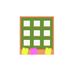 note pad on board with notes flat design vector image