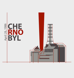 Nuclear accident at chernobyl plant near vector