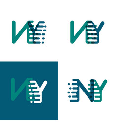Ny letters logo with accent speed in green and vector