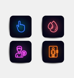 Oil drop hand click and person idea icons vector