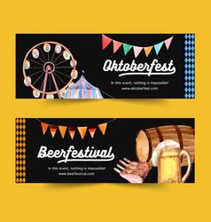 Oktoberfest banner design with entertainment beer vector