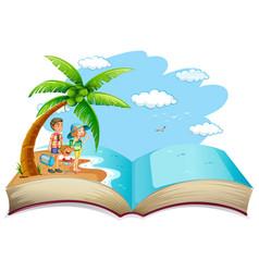 Open book family summer vacation vector