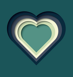 paper cut out background with 3d effect heart vector image
