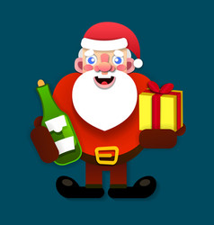 paper santa claus merry christmas and new year vector image