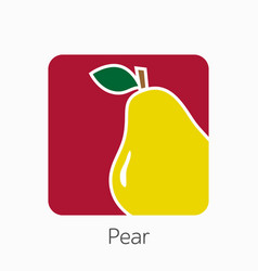 Pear icon simple flat fresh pear sign vector