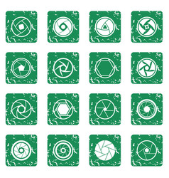 Photo diaphragm icons set grunge vector