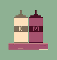 Pixel icon in flat style ketchup and mustard vector