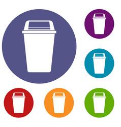 Plastic flip lid bin icons set vector