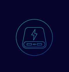 Power bank icon linear vector