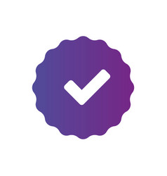 Purple approved badge sticker with checkmark vector