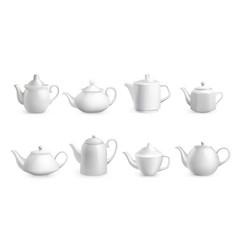 Realistic teapots white porcelain dishes vector