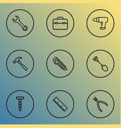 repair icons line style set with bolt measurement vector image