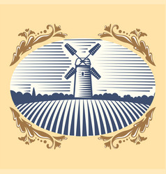 retro landscape windmill farm vector image
