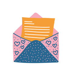 retro opened mail envelope with letter vector image