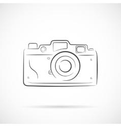 Retro Photocamera Outline Icon vector image