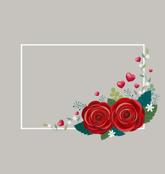rose flowers with hearts and white frame design vector image