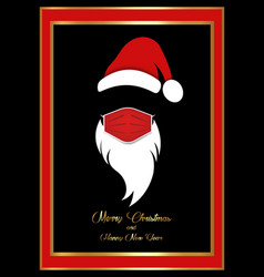 santa claus head label with red surgical mask card vector image