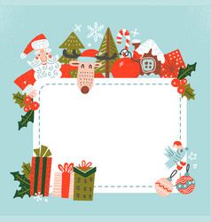 santa sign template claus holding a blank vector image