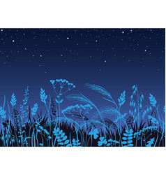 seamless border with wild plants in moonlight vector image