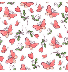 seamless pattern butterflies and flowers hand vector image