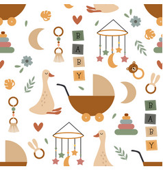 Seamless pattern with cute nursery elements vector