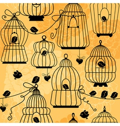 Seamless pattern with decorative bird cage Silhoue vector