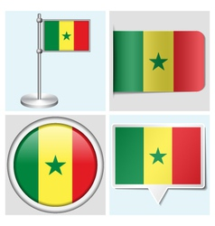 Senegal flag - sticker button label flagstaff vector image vector image