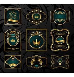 set black gold-framed labels - vector image
