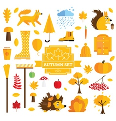 Set of autumn elements isolated on white vector