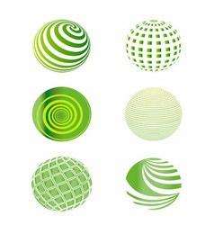 Set of Green Globes vector image