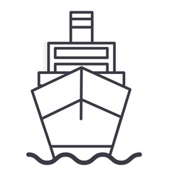 ship cargo logistics line icon sign vector image
