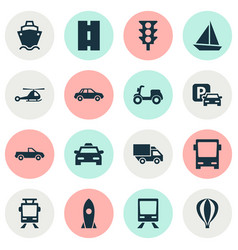 Shipment icons set collection of cabriolet vector