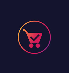 shopping cart completed order icon vector image