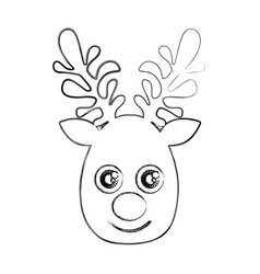silhouette blurred cute face reindeer animal vector image vector image