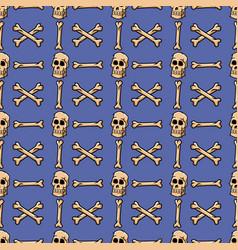 skull crossbone seamless pattern vector image