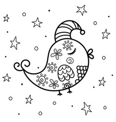 sleeping bird at night coloring page sweet dreams vector image