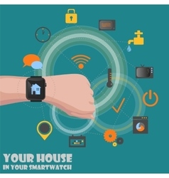 Smart home detectors controlling via smartwatch vector