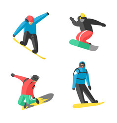 snowboarder jump in different pose people vector image